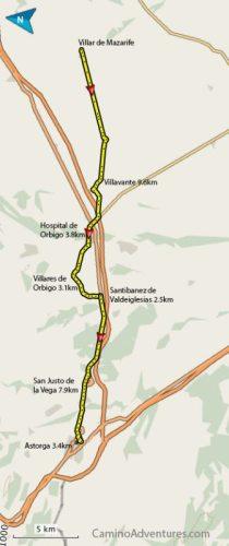 Villar de Mazarife to Astorga Map