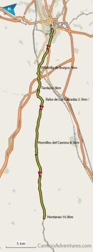 Burgos to Hontanas Map