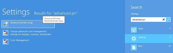 configuracion avanzada de impresora en Windows 8