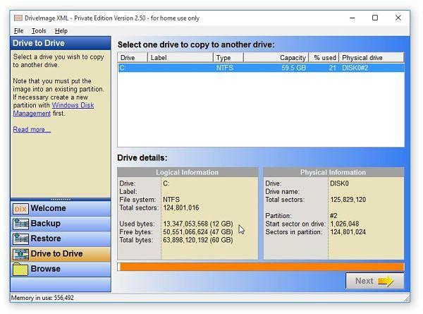 Crear imagen de disco o clonar disco duro con DriveImage XML