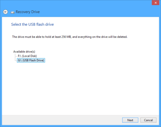 Seleccionar memoria USB
