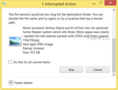 Al parecer, el archivo comprimido contiene un archivo de imagen JPG, que mi Windows 8 no pudo eliminar. Con la opción Skip, he eliminado todos menos este ...
