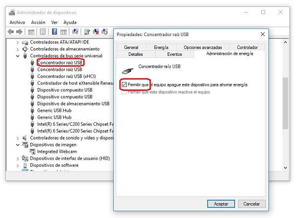 Administrador de dispositivos de Windows. arreglar USB