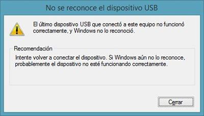 Solucionar No se reconoce el dispositivo USB en Windows 7 / 8 / 10