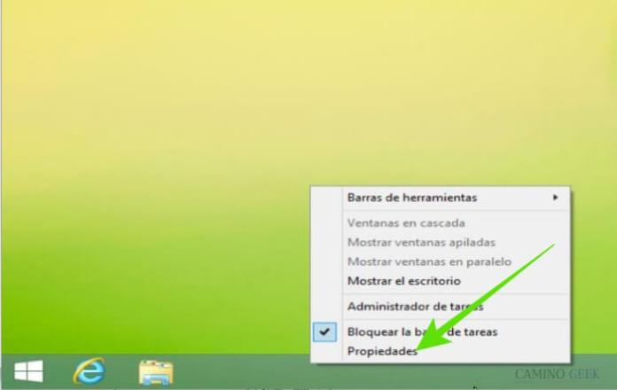 Esconder la barra de tareas en Windows 8