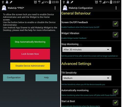 Cómo encender la pantalla al levantar Android automáticamente con WakeUp