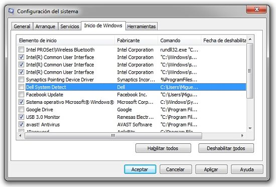 Quitar programas de inicio en Windows 7