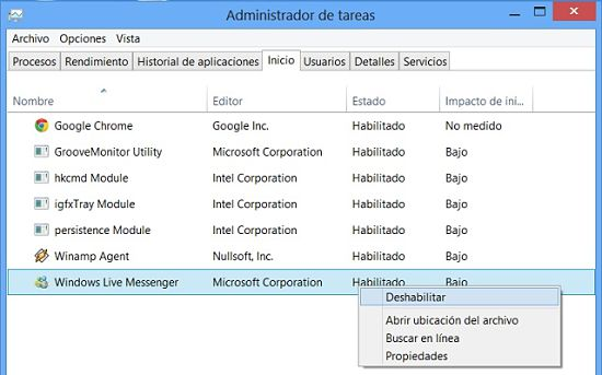 Desactivar programas de inicio en Windows 8