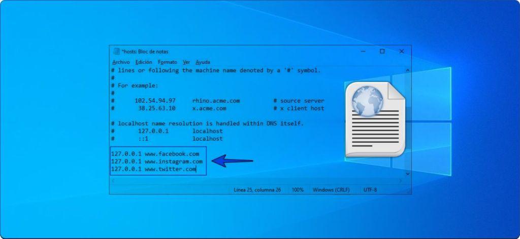 Bloquear páginas de Internet por el archivo host de Windows