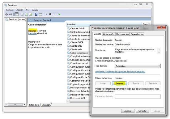 Eliminar cola de impresión de Windows de forma manual