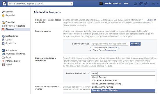 Bloquear juegos de Facebook