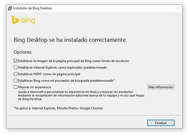 Usar imágenes de fondo de pantalla de Bing como fondos de escritorio en Windows 10