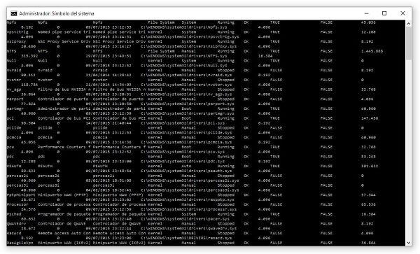 Obtener listado de controladores o lista de drivers instalados en Windows por Símbolo del sistema