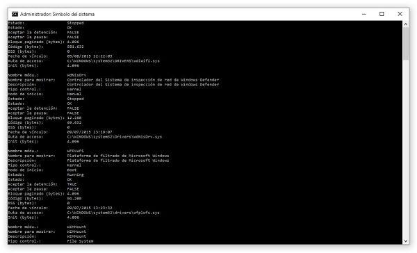 Obtener lista de controladores o lista de drivers instalados en Windows por Símbolo del sistema