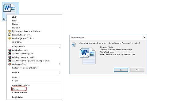 Cómo eliminar un archivo por menú contextual