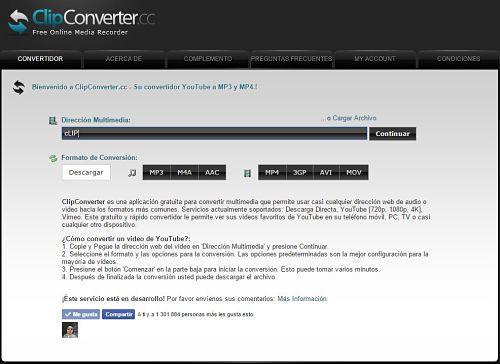 ClipConverter: sitios para descargar música MP3 gratis desde YouTube