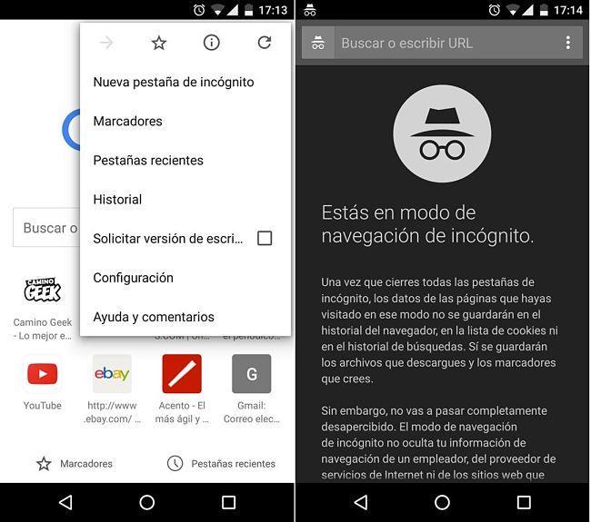 Navegar en modo incógnito en Chrome para Android