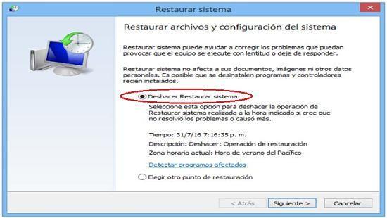 Deshacer restaurar sistema en Windows 8.1