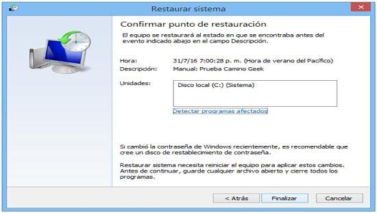 Restaurar sistema en Windows 8.1