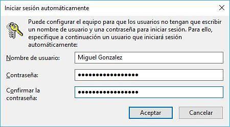Configurar Windows 10 para iniciar sesión automáticamente sin contraseña