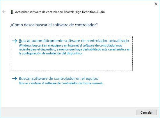 Cómo solucionar problema de audio en Windows 10; actualizar drivers