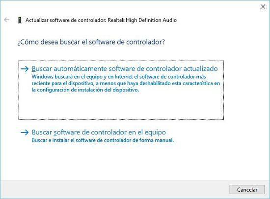 Cómo solucionar problema de audio en Windows 10; actualizar drivers