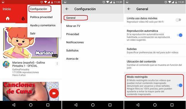 Habilitar el Modo restringido de YouTube desde el app en Android