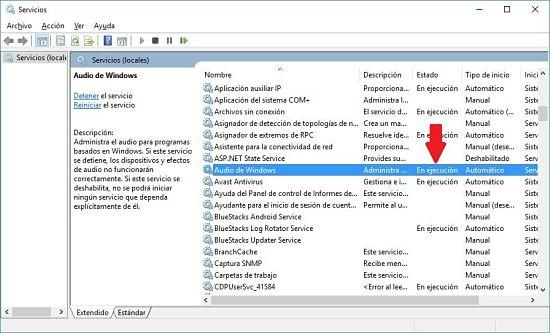 Cómo solucionar problema de audio en Windows 10; reiniciar servicio de audio