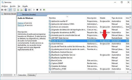 Cómo solucionar problema de audio en Windows 10; reiniciar servicio de audio