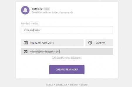 Reme.IO es un servicio para crear recordatorios de correo
