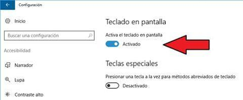 Usar el teclado en pantalla o teclado virtual en Windows 10