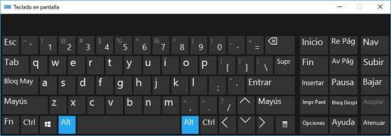 Teclado en pantalla de Windows 10