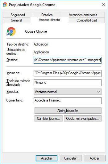 Abrir Google Chrome en modo incógnito predeterminado