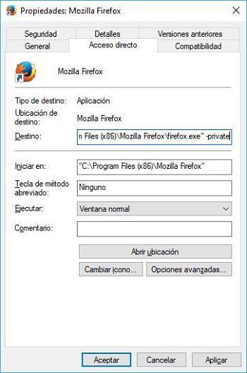 Abrir Mozilla Firefox en modo incógnito predeterminado