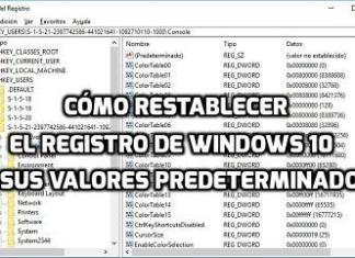 restablecer el registro de Windows 10