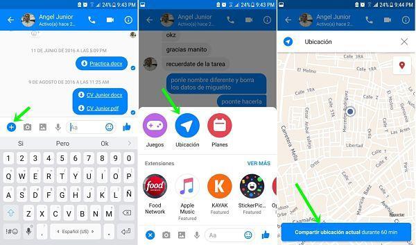 Enviar ubicación por Messenger en tiempo real