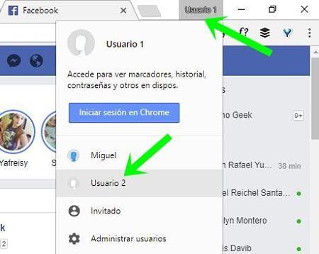 Iniciar sesión en varias cuentas de Facebook en Chrome