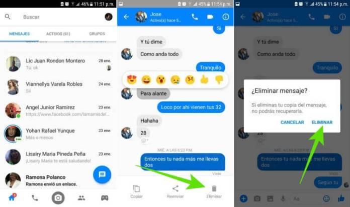 Cómo borrar mensajes de Facebook Messenger