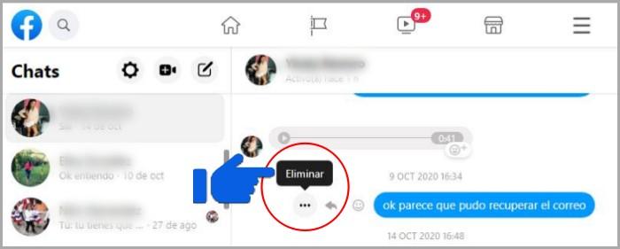 Cómo borrar mensajes de Messenger
