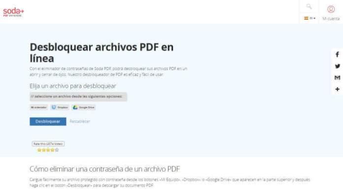 Soda Unlock PDF - Cómo quitar contraseña a un PDF online gratis