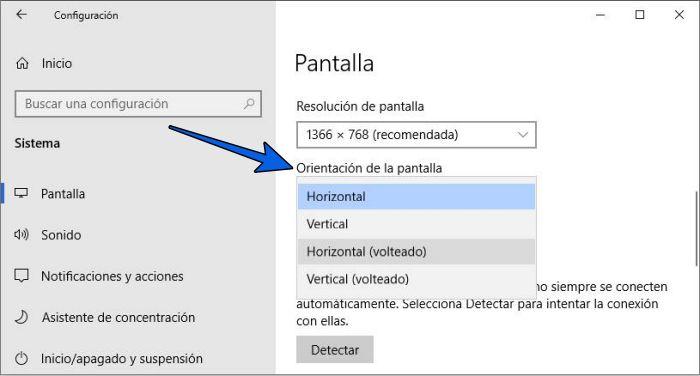 Cómo girar o voltear la pantalla de una computadora si está al revés en Windows 10