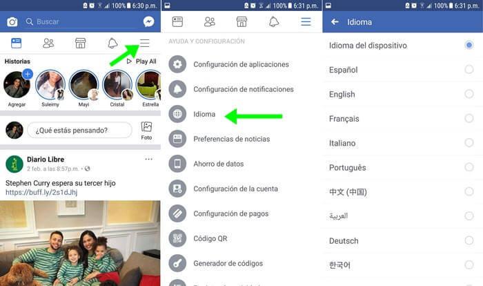 Cómo cambiar el idioma en Facebook a español en mi celular