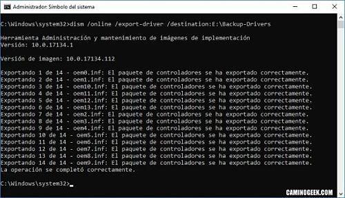Realizar copia de seguridad de los controladores en Windows 10