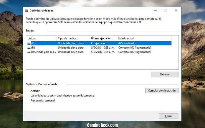 Cómo ejecutar la desfragmentación de disco en Windows 10