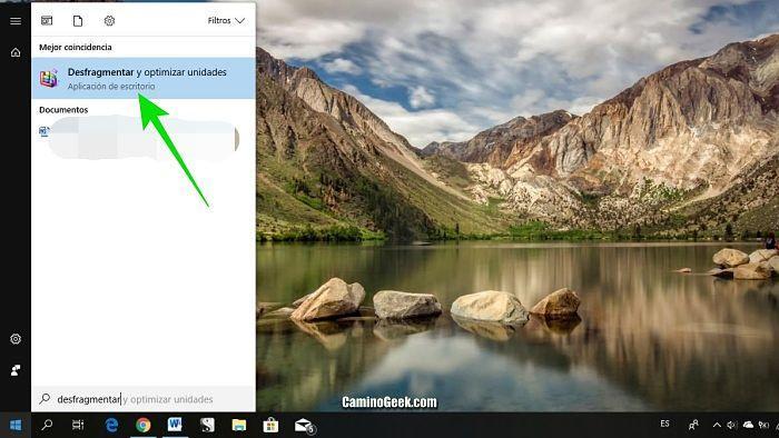 Desfragmentar el disco Windows 10