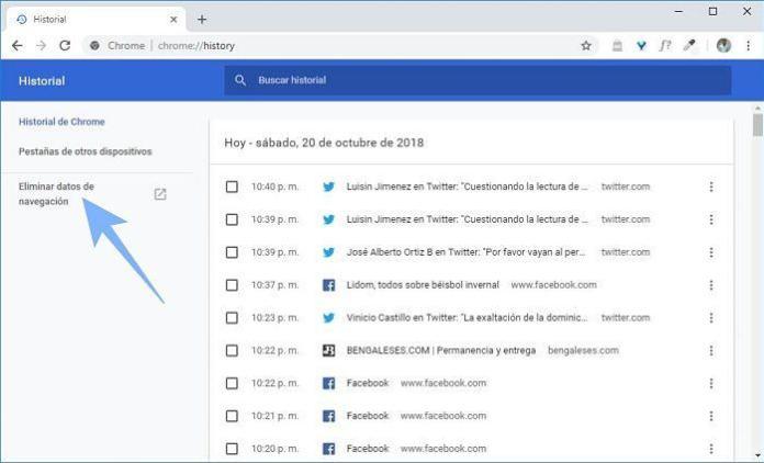 Borrar el historial de navegación en Google Chrome
