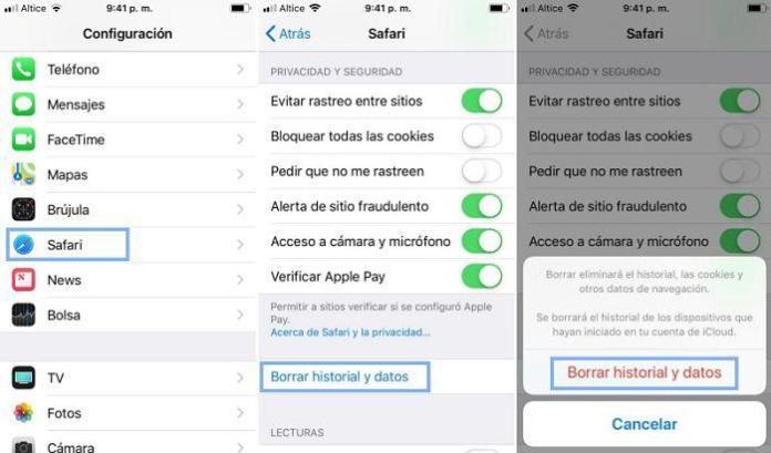 Cómo borrar el historial de navegación en iPhone desde Safari