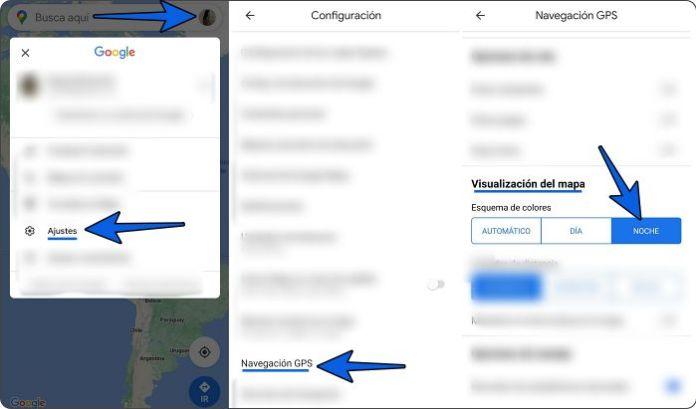 Activar el modo oscuro de Google Maps