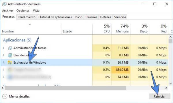 Reiniciar el Explorador de Windows usando el Administrador de tareas
