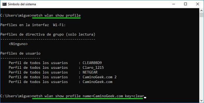 Cómo saber la contraseña de WiFi desde el Símbolo del sistema (CMD)
